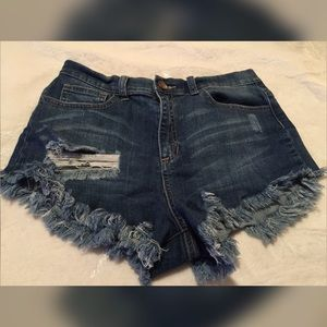 Sneak Peek Distressed High Waist Jean Shorts